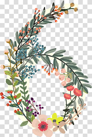 flowers number 6 PNG clipart
