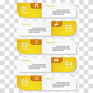 step 1-5 , Infographic Data Chart, Yellow-white minimalist design infographic material PNG clipart
