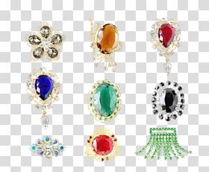 Earring Gemstone Brooch Jewellery, Agate jade jewelry PNG