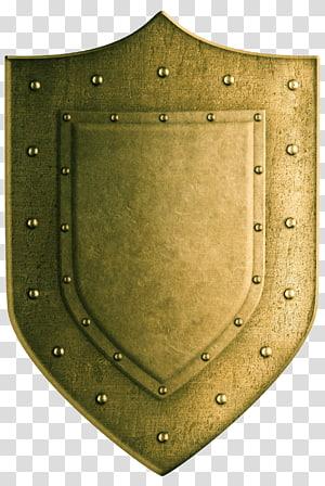 gold shield, Shield Coat of arms illustration, Golden shield PNG
