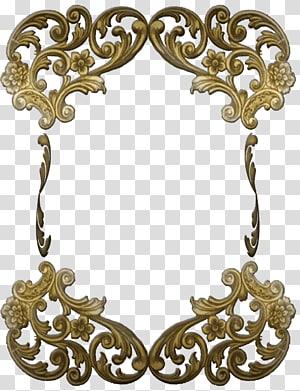 brown flower decor, Victorian Golden Ornate Frame PNG clipart