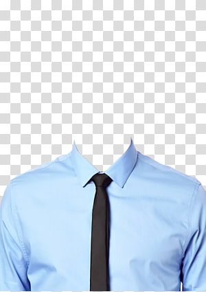 blue long-sleeved collared shirt and black necktie, Dress shirt T-shirt Necktie Suit, dress shirt PNG