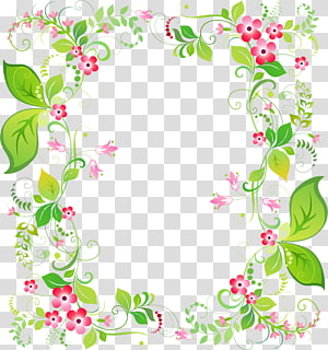 green and pink flowers border, Borders and Frames Portable Network Graphics graphics, painting PNG clipart