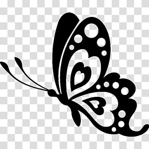 black butterfly , Butterfly Stencil Silhouette Drawing, macaron PNG