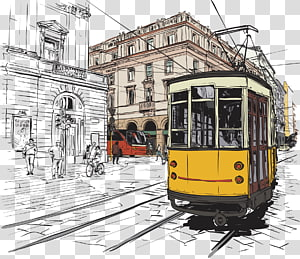 white and yellow train illustration, Trams in Lisbon Fashion Illustration, Animation tram PNG