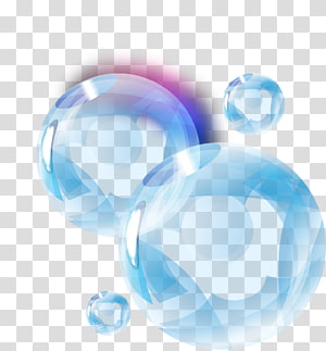 four clear bubbles illustration, Blue Drop Bubble, hand painted blue water droplets PNG clipart