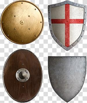 four shields , Shield Sword Escutcheon , Shields Weapons PNG