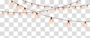 turned-on black string lights, Light Lamp, Decorative light string PNG clipart