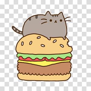 pusheen on burger , Hamburger Cheeseburger Pusheen Cat Fast food, Cat PNG