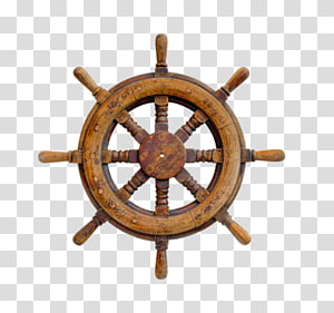 Rudder Watercraft Steering wheel, Wood steering wheel steamship PNG