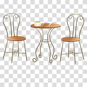 Table Chair Illustration, Hand-painted tables and chairs PNG