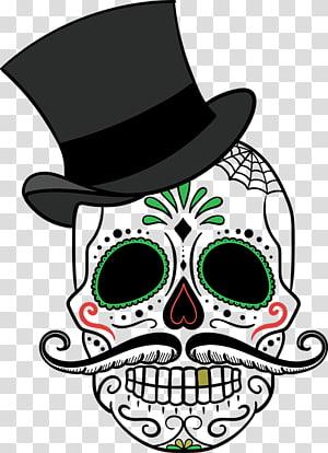 sugar skull , La Calavera Catrina Day of the Dead Skull Mexican cuisine, skull PNG