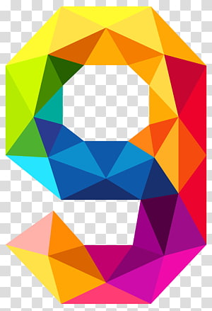 Triangular number Color , Colourful Triangles Number Nine , rainbow 9 PNG
