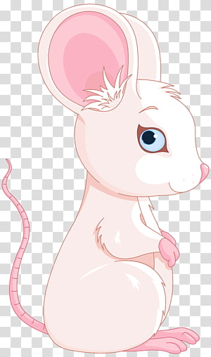 pink rabbit , Rabbit Rat Mouse Whiskers Illustration, Cute Pink and White Mouse PNG