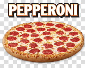 pepperoni pizza with text overlay, Chicago-style pizza Little Caesars Take-out Italian cuisine, Pepperoni Pizza File PNG clipart