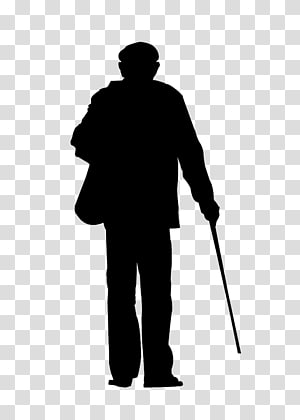 lonely old man back PNG clipart