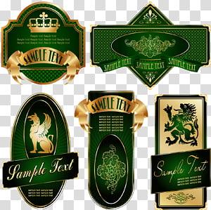 Label Bottle Shape, Continental gorgeous green Phnom Penh label wine label PNG