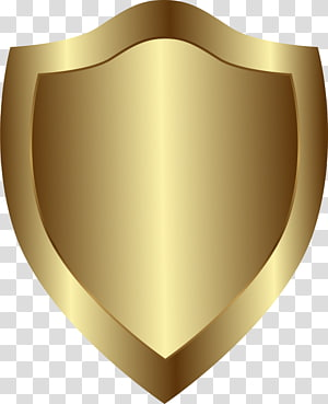 Shield Badge, Golden atmospheric shield PNG