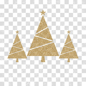 Golden christmas tree PNG clipart