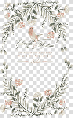 pink bird and petaled flowers, Wedding invitation Marriage Illustration, Cover bird invitations PNG clipart