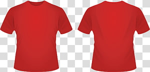 red crew-neck shirt collage, T-shirt Crew neck Neckline Clothing, Red Template s PNG clipart