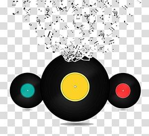 design notes and vinyl discs PNG