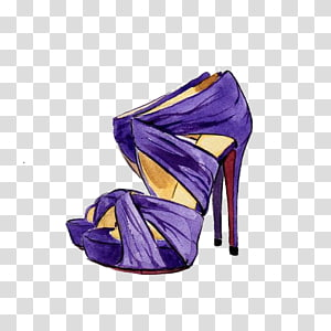 pair of purple peep-toe stilettos illustration, Shoe High-heeled footwear Drawing Watercolor painting Illustration, Blue and purple high heels PNG clipart
