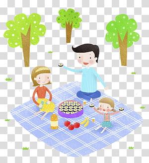 Picnic Food Cartoon Illustration, Picnic family PNG clipart