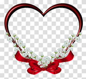 Heart frame , Red Heart Frame Decor , red floral heart illustration with bow accent PNG clipart