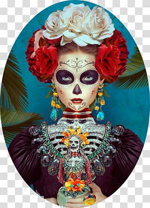 Frida Kahlo La Calavera Catrina Mexico Day of the Dead, painting PNG