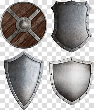 brown and silver shields collage, Middle Ages Shield Knight Crusades , Metal Shield PNG