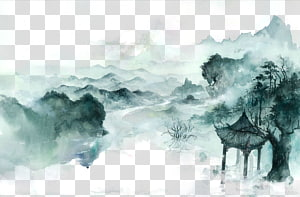 green pagoda in mountain , Antiquity beautiful watercolor illustration PNG