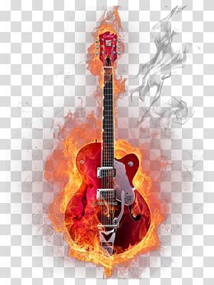 flaming red electric guitar, Guitar Musical instrument Graphic design, Musical instruments guitar PNG
