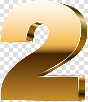 Number 3D computer graphics , Number Two 3D Gold PNG