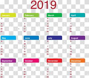 2019 calendar illustration, Calendar New Year , 2019 Calendar PNG clipart