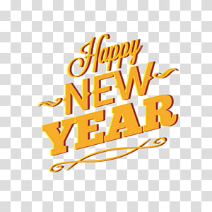 New Year Euclidean , Yellow English WordArt Happy New Year PNG