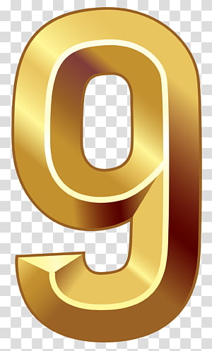 gold 9 illustration, Number , Gold Number Nine PNG clipart