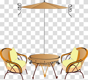 Coffee Cafe Table Chair, Open Seat umbrella PNG