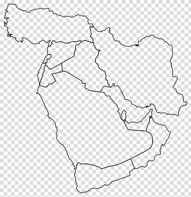 Middle East Western Asia Blank map World map, map PNG ...