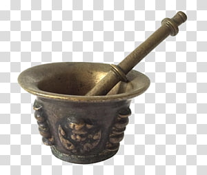 Mortar and pestle Brass Bronze Patina Apothecary, pestle PNG clipart