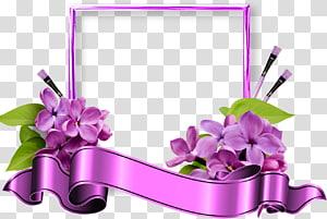 purple petaled flowers illustration, Frames Filtre Birthday, CADRE PNG clipart