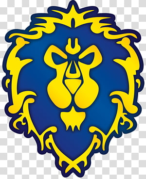 blue and yellow lion logo , Warlords of Draenor World of Warcraft Logo Symbol Decal, wow PNG clipart