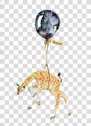 brown giraffe with balloon illustration, Drawing Watercolor painting Art Illustration, Watercolor giraffe PNG clipart