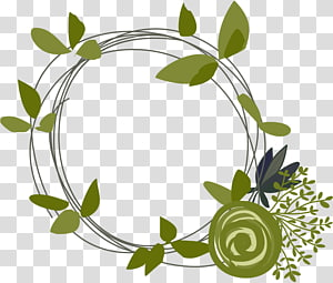 Drawing , Green leaves ring PNG