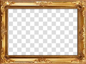 Frames Mirror Painting Wood Gold leaf, Frame Gold Background, rectangular brown wooden frame on blue background PNG clipart