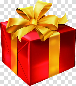 opened red gift box gold ribbon PNG