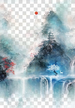 Chinese art Asian art Chinese painting Illustration, Antiquity beautiful watercolor illustration, body of water surrounded by tree near to castle painting PNG