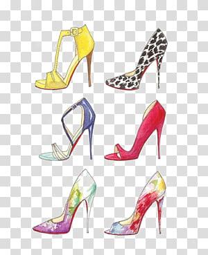 Drawing Shoe Fashion illustration High-heeled footwear, Cartoon heels PNG