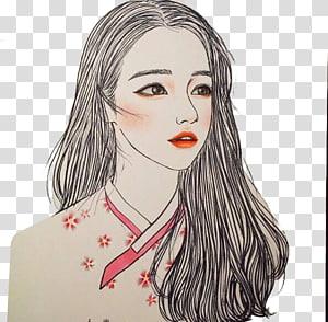 Drawing Illustrator Ulzzang Art Illustration, Hand-painted hair girls Avatar PNG clipart