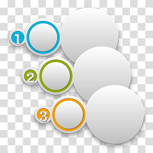 three round white numbered illustrations, Circle Infographic Chart, PPT information PNG